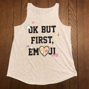 Girl's Justice Light Grey Emoji Tank Top